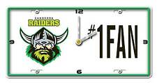 NRL CANBERRA RAIDERS License Number 1 Fan Plate Metal Clock Man Cave Christmas