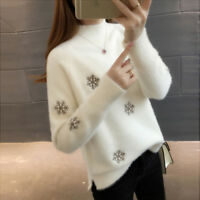 New Womens Winter Warm Loose Embroidered Knitting Sweater Coat Casual Tops Zhou8