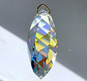 "50mm Swarovski ""Twist"" 8950-8011 AB Crystal Pendant Prism w Logo in Velvet Pouch"