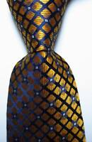 New Classic Checks Gold Dark Blue White JACQUARD WOVEN Silk Men's Tie Necktie