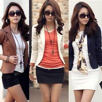 Fashion Women Casual Slim Solid Suit Blazer Jacket Coat Outwear One Button Tops