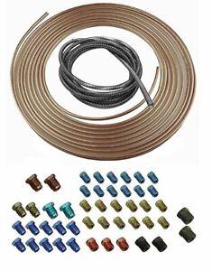Copper Nickel Brake Line Tubing Kit 3/16 OD 25 Foot Coil Roll Fittings Spring 47