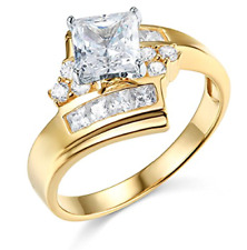 3.05 Ct Princess Cut Turned Engagement Wedding Ring Real Solid 14K Yellow Gold