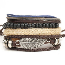 Vintage Punk Feather Bracelets for Women Men Wood Beads Leather Bracelet