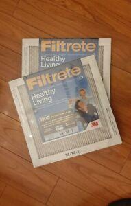 Pair 3M 14x14x1 Filtrete HEALTHY LIVING Ultra Allergen Reduction 1900 MERV-13