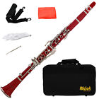 Aklot Bb Beginner Clarinet 17 Keys with Durable Red ABS Body with Reed