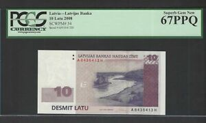 Latvia 10 Latu 2008 P54 Uncirculated Graded 67