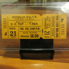 Zz Top & T-Rex 1974 Unused Concert Ticket; 11/21/74 Michigan Palace Detroit