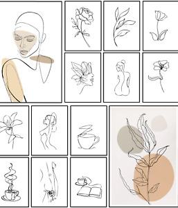 One Line Prints Modern Wall Art Minimalist Fashion Stylish Posters A5 A4 A3