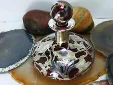 Antique Cranberry Red Art Glass PERFUME Scent BOTTLE Silver Overlay Art Nouveau