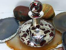 Antique Cranberry Red Art Glass PERFUME Scent BOTTLE Silver Overlay Art Nouveau