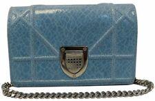 CHRISTIAN DIOR Aqua Blue Leather Mini Diorama Crossbody Bag