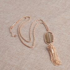 Kendra Scott Rayne Necklace Pendant In Gold Dusted Glass Tassel New 0918-17