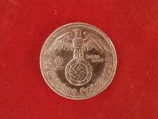 Moneda antigua alemana de plata 2 RM III Reich segunda guerra mundial año 1938