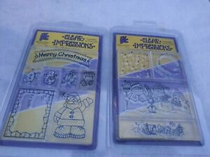 Provo Craft Clear Impressions Acrylic Stamps Lot Holiday Christmas Winter. NEW