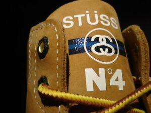 2013 TIMBERLAND 6 INCH BOOT STUSSY NO. 4 WHEAT BROWN BLUE ZIPPER WHITE 6129A 11