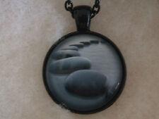 Serene Stones Photo Design Glass Cabochon Black Chain Pendant Necklace