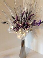 Artificial Flower Arrangement Glitter White Purple Nylon Flowers In Silver Vase