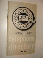 Kraft Foods 1966 General Office Telephone Directory w/ Floor Plan