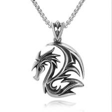 "Dragon Pendant Chain Necklace 24"" Stainless Steel Gift for Men Women Unisex"