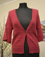 FAT FACE Pink Cardigan Top Cable Knit 1 Button Cashmere Wool Blend Sz 10 UK