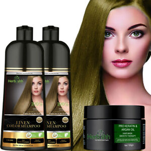 2 PCS 500ML HERBISHH COLOR SHAMPOO WITH  COMPLEMENTARY ARGAN HAIR MASK - LINEN