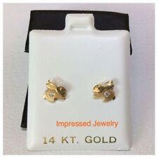 14k Yellow Gold Children's Cubic Zirconia Bunny Rabbit Safety Stud screw Earring
