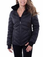 Nautica Women's Puffer Jacket Removable Fur Lined Hood Zip Pockets White & Black