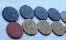 Vintage Antique Clay Poker Chip Lot Eagle Holding Arrows Red White & Blue