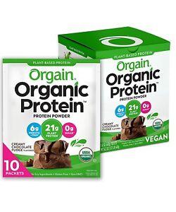 Orgain Organic Plant Based Protein Powder, Creamy Chocolate Fudge, 10 Count