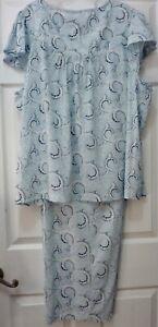 NWT $62 Cabernet Woman 2pc Pajama Set Plus 3X Blue Multi Scroll 100% Cotton NICE