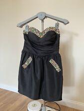 Forever Unique Kleid Schwarz Strass S Partykleid Abikleid Abendkleid Minikleid