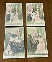 FRENCH antique tinted postcards, MOTHER and CHILD, Series of 4 cards, LOVELY