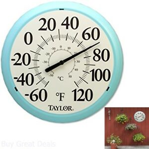 Outdoor Thermometer Large Dial Weather Temperature Patio Wall Garden Decor 13.25