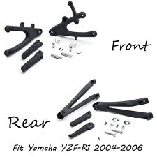 Black front and Rear Foot Pegs Bracket Fit For Yamaha Yzf R1 2004-2006