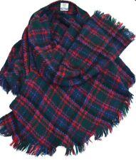 Irish Wool Shawl Weave O' Cape Warm Wrap Red Blue Green Plaid Size Medium Vtg