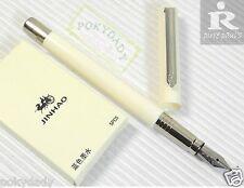 Pirre Paul's F 101 Fountain Pen WHITE F nib + 5 JINHAO cartridges BLUE ink