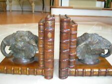 Theodore Alexander Pair of Walnut Faux Book Elephant Head Bookends