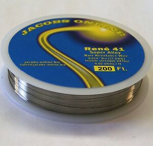 """Rene 41 resistance wire .014"""" 27ga, 200 ft, superalloy ultimate hot wire cutting"""