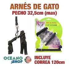 ARNÉS Y CORREA PARA GATOS AJUSTABLE CALIDAD 32,5cm Máximo de PECHO L51GT 2346