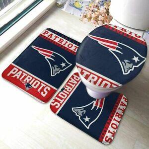 New England Patriots Non-Slip Bathroom Bath Mat 3PC Toilet Lid Cover Contour Rug