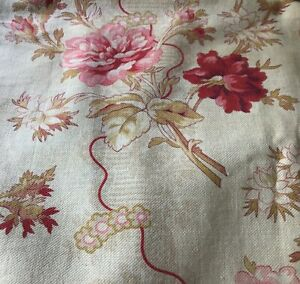 Antique French Cotton Fabric 19th Floral Rose Bouquet Shabby Chic Home  Decor