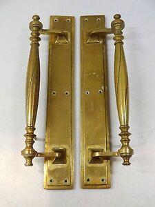 BRASS EDWARDIAN DOOR PULL HANDLES (4 PAIRS) PLATES KNOBS GRAB LARGE ANTIQUE PUSH