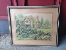 Vtg Shabby Cottage Chic English Flower Garden by Lake  Print Wood Framed