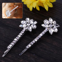 2pcs Rhinestone Diamante Flower Crystal Hair Grips Barrette Clips Bridal Wedding