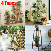 Garden Wood Plant Stand Pot Planter Holder Rack 5 Tier Display Shelves Outdoor