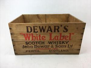 Vintage Dewar's White Label Scotch Whisky Wooden Crate Box Case