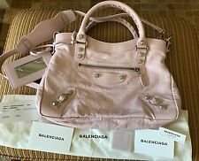 New Authentic Balenciaga Pink Rose Poudre City Town Crossbody Giant Silver Xbody