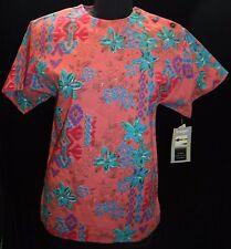 NWT Wrangler Vtg Sz S Top Shirt Blouse Floral Abstract Print  Coral Vintage