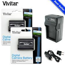 2x Vivitar EN-EL15 Battery + Charger for Nikon D7200 D7100 D810 D750 D610 D500
